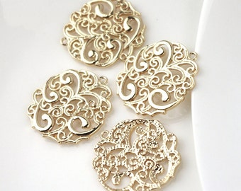 1pc 24K Gold filled Brass Textured Flower Pendant Statement Pattern Pendant (#10001117)