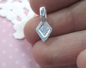 Glue On Pendant Bails, Silver Plated, 16x8mm Diamond Shaped Flat Pad Jewelry Findings