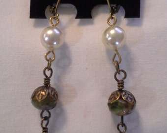 Pearls and Creamy Amber Colored Bead Earrings = E107