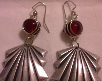 Art Deco Drop Earrings With Red Crystals = E146