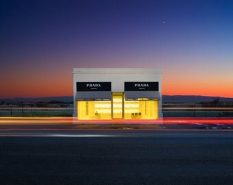 Fine Art Print of Prada Marfa, Marfa, Texas | Landscape, Desert, West, Remote, Empty, Tourist, Installment, Architecture, Color, Photograph