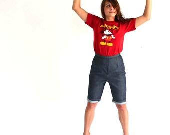 vintage high waist shorts - 1960s indigo denim shorts - pedal blue jean shorts - dark denim shorts, womens small medium