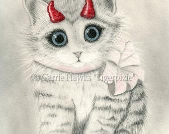 Cute Devil Kitten Cat Drawing Little Red Horns Kitten with Bow Big Eye Cat Art Fantasy Cat Art Print 5x7 Cat Lovers Art