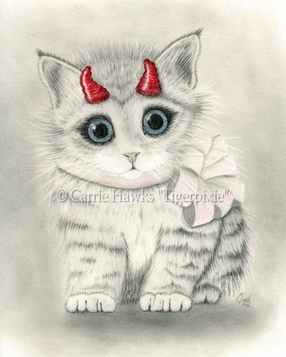 Cute Devil Kitten Little Red Horns Big Eye Cat Art Gothic Fantasy Cat Art Print 8x10