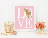 Puppy Love Dog Art Print - Chihuahua Wall Art Print 8x10 - Great Pet Lover Gift, Pink and Gold Glitter