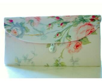 peach pink roses clutch purse Spring Wedding Bridal Clutch, Purse shabby Bridesmaid Gift, Bridesmaid Clutch, Floral Clutch Wedding Accessory