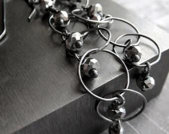 Silver Rain Earrings, Oxidized Sterling Silver, Long Metallic Silver Earrings, Charcoal Grey Gray Oxidized Silver, Modern Jewelry