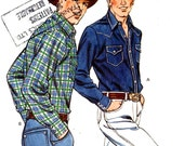 Mens western shirt western cowboys shirt sewing pattern Kwik Sew 1290 Sz 42