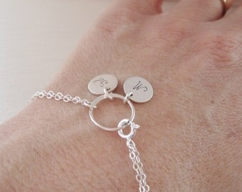 Personalized eternity ring bracelet, custom initial bracelet, sterling silver, two initials, couples jewelery, mothers bracelet, family