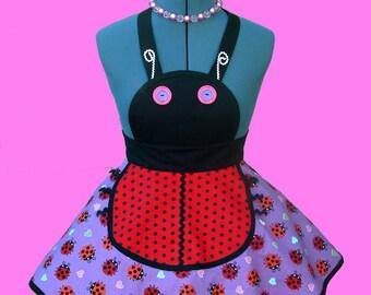 "50% SALE!!  Girl's Apron - ""Ladybug"" girls apron kids childs birthday tea party Ready To Ship!!"