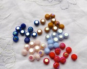 Colorful Bead Lot, Vintage German Beads, Glass Bead Lot, Red Mustard Navy Pink Light Blue Opaque Beads Tablets, Jewelry Making, Bead Crafts