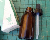 2 vintage apothecary bottles, amber glass,  with dropper lid, original Rx box,  Brockway Glass Co. ,1oz brown bottle