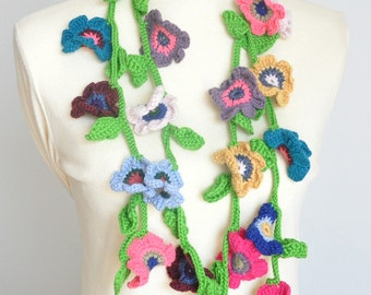 Colorful Summer - Crochet Multicolor Flowers Long Scarf/Lariat/Belt