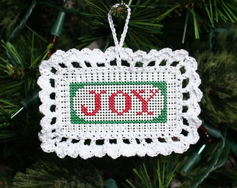 Joy Cross Stitched and Crocheted Holiday Christmas Tree Ornament - Free U.S. Shipping
