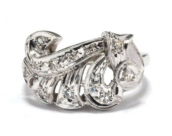 Art Deco White Gold and Diamond Cocktail Ring - Size 6