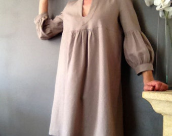 Dress or Tunic - My Garden - in grege taupe linen