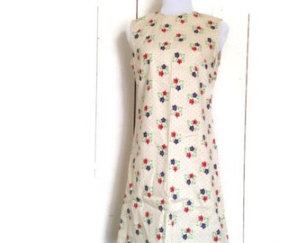 Vintage 60s shift dress, Mod Scooter dress, 1960s polka dot, floral sun dress, cotton