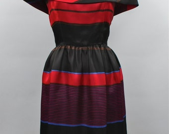 BILL BLASS Vintage Dress Silk Striped Off Shoulder - AUTHENTIC -