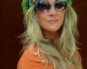 Green JUMBO SLOUCHY Beanie hat crochet slouch hat Groovy Girls colorful FLOWER beret Hippie hat Spring Green Women slouchy Beanies GPyoga