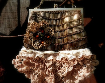 Vintage Upcycled Bridal Bag, Special Occassion Hand Bag, OOAK Design, Something Old, Wedding Purse