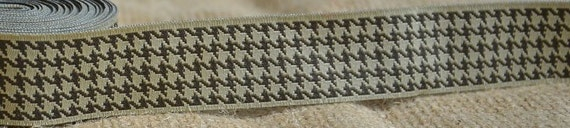 """SALE: 5 Yards New Hampshire Jacquard Ribbon  - Sewing Gift Wrapping Tan & Brown/Taupe HoundsTooth Trim  1"""""""
