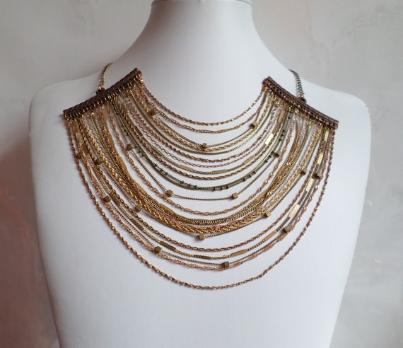All Chained Up Necklace >> Chain Necklace, Antique Gold, Bronze, Copper, Textured Necklace, Statement Necklace, Layered Chain, Bib, OOAK