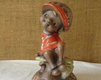 MOD MUSHROOM GIRL Tall Figurine Sitting on Mushroom Art Potery Figurine Rare Tall Figurine