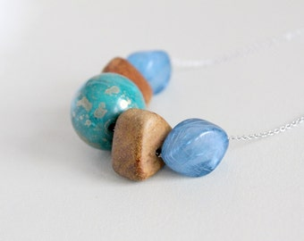 Bold Geometric Beaded Necklace in Turquoise, Blue and Brown // CLEARANCE SALE