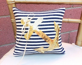 Ring Pillow, Ring Boy, Gold Wedding, Nautical Wedding, Summer Wedding, Beach Wedding, Ring Bearer Pillow, Flower Girl Basket, *NEW*