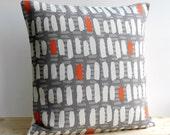 Linen Cotton Pillow Cover, 18x18 Modern Pillow Cover, 18 Inch Pillow Sham, Cushion Cover, Scatter Cushion, Pillow Case - Brushstrokes Orange