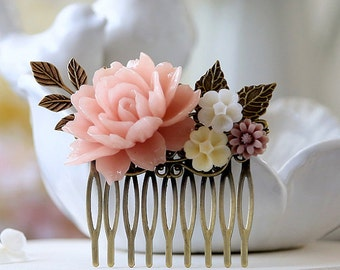 Bridal Hair Comb Wedding Hair Accessory Blush Pink Flower Hair Comb Powder Pink Rose Ivory Mauve Daisy Antique Gold Brass Leaf Hair Comb