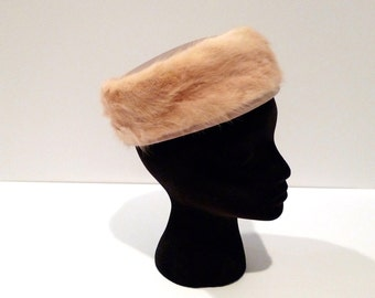 Mink Hat Vintage Fur Ladies Pill Box Hat Freiman Original New York Blonde Mink and Satin Hat 50s 60s Classic Formal Fall Winter Ultra Hip