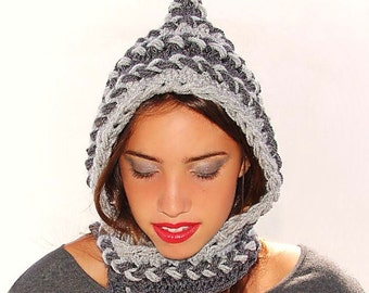 Crochet Pixie Hat. Crochet  hat - hood, Women's Hooded scarf, crocheted neck warmer, Gray braids. Gnome Hat, Hood, Fall Fashion