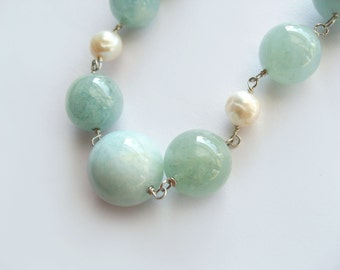 Large Natural Aquamarine and Pearl Necklace