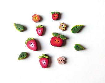 polymer clay mini Buttons, DIY sewing Craft supplies, Set of 12 miniature buttons, handmade children buttons, flower Apple Strawberry leaf