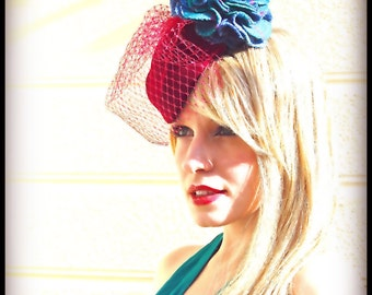 Teal Tweed on Magenta percher cocktail hat with veil