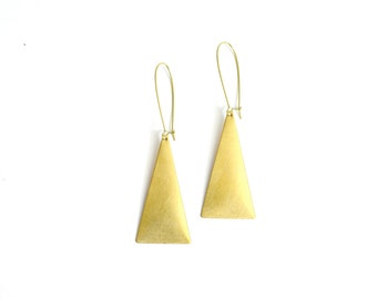 Vintage inspired brass bohemian large triangle earrings