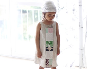Sundress for girls, size 4 years. Linen and cotton fabric. Natural colors, summer wear. Ready to ship.