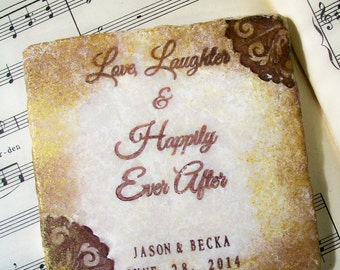 Love, Laughter and Happily Ever After, Wedding Coasters, Personalized Wedding Gift, Set of 4, Wedding and Anniversary Gift
