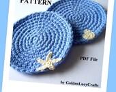 Crochet Coasters PATTERN, Ocean Theme, Sea Motifs, Summer decor, PDF File