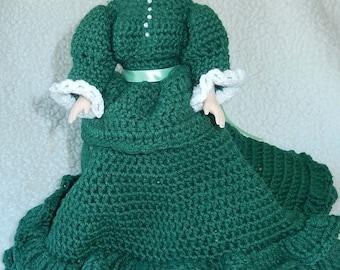 Hand Crochet Ruffled Green doll dress- Doll Sleepy eyes- blue eyes 1980s-16 inch doll-Hand made-Southern Belle-hand made doll