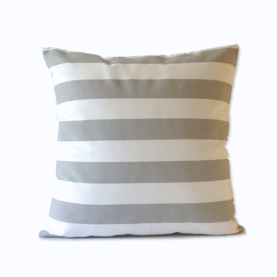 16x16 To 20x20 Decorative Throw Pillow Cover Gray and White Wide Striped Medium Weight Cotton- Invisible Zipper Closure- Cushion Covers