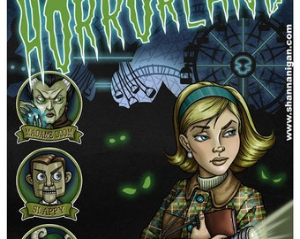 Nancy Drew goes to Horrorland - 11x14 Giclee Print