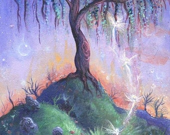 The Faerie Hill, a fairy tree print