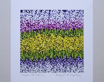 Flower Fields Yellow Lavender Giclee Print of Painting