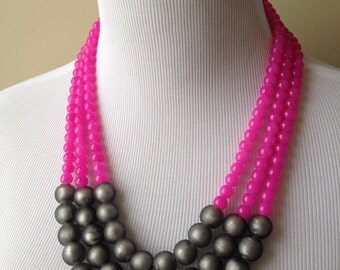 Raspberry and Gray Glass Beaded Triple Strand Statement Necklace - Pink and Gray Statement Necklace - Bianca Necklace