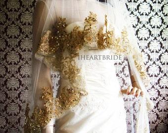 Luxury Gold Lace Bridal Veil Beaded Gold Lace Drop/ Circle Veil by IHeartBride V-1LG Elliston Gold & Platinum Collection Custom Bridal Veil