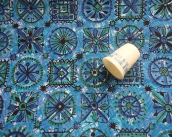 blue geometric floral print vintage cotton fabric -- 38 wide by 3 1/2 yards