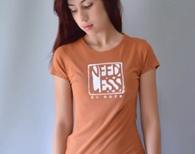 "DO MORE Orange Inspirational Typography Tshirt Motivational Tee Organic Cotton & Bamboo T Shirt for Women ""Need Less Do More""  by Uni-T"