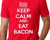 MENS Keep Calm and Eat Bacon t shirt funny bacon shirt S-4XL
